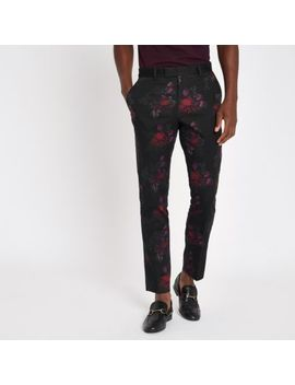 Black Floral Skinny Suit Trousers by River Island