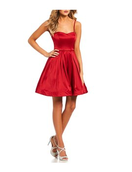 Spaghetti Strap Satin Fit And Flare Dress by Sequin Hearts