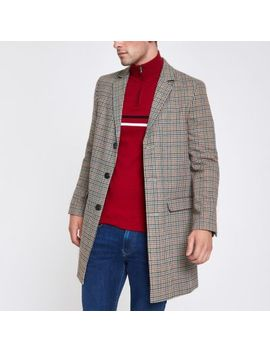 Brown Check Smart Overcoat by River Island