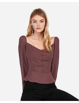 Sweetheart Button Blouse by Express