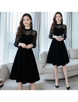 2019 Spring Women's Fashion Temperament Stand Collar Gauze Matching Velutum Dress by Unbranded