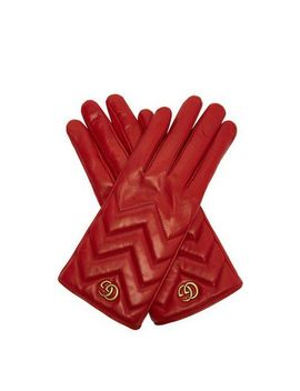 Women's Red Gg Marmont Chevron Quilted Leather Gloves by Gucci