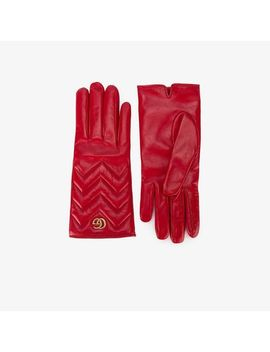 Women's Red Gg Marmont Gloves by Gucci