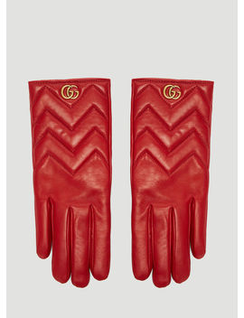 Marmont Chevron Leather Gloves In Red by Gucci