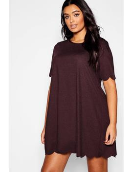 Plus Scallop Edge Shift Dress by Boohoo