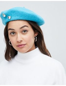 Asos Design Beret In Aqua With Heart Badges by Asos Design