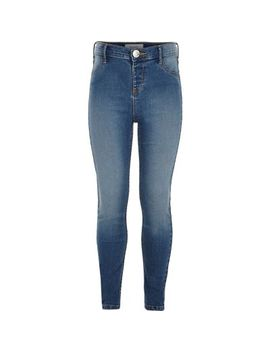 Girls Blue Mid Wash Molly Jeggings by River Island