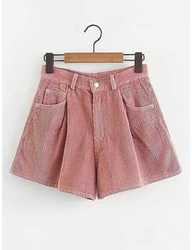 Solid Corduroy Wide Shorts by Sheinside