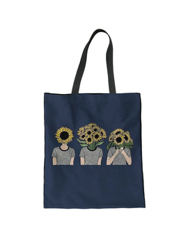 Instantarts Funny Sunflower Pattern Linen Tote Bag Women Casual Big Canvas Shopping Bag Ladies Travel Shoulder Handbags Female by Instantarts