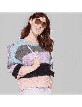 Women's Plus Size Multi Stripe Pullover Sweater   Wild Fable™ Pink/Black by Wild Fable