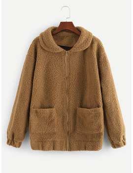 Pocket Side Zip Up Teddy Outerwear by Romwe