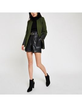 Khaki Green Faux Leather Trim Blazer by River Island