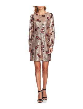 Floral Print Sequin Bishop Sleeve Shift Dress by Ce Ce