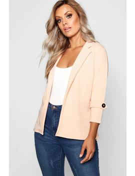 Plus Crepe Button Blazer by Boohoo