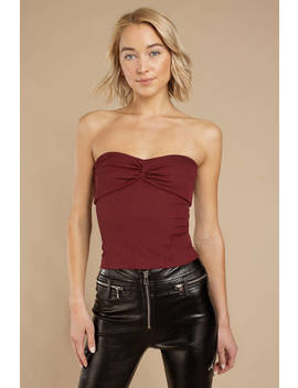 Lissette Wine Knotted Strapless Top by Tobi