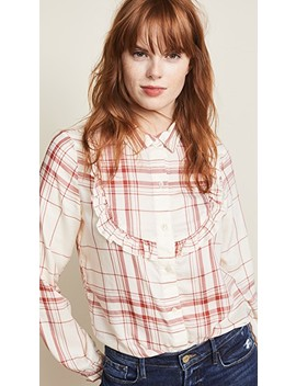 Ruffle Bib Button Down Shirt by Frame