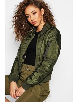 Quilt Detail Bomber Jacket by Boohoo