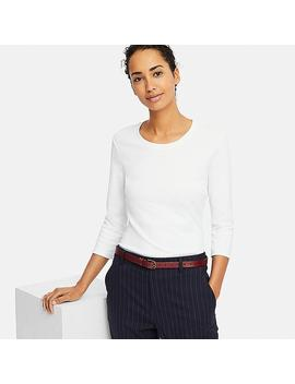 Damen Compact Cotton T Shirt 3/4 Arm Rundhals by Uniqlo