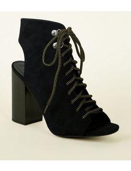 Black Suedette Hiker Block Heels by New Look