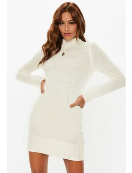 White Fluffy High Neck Jumper Dress by Missguided