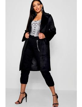 Oversized Brushed Wool Look Coat by Boohoo