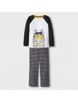 Boys' 2pc Long Sleeve Raccoon Cozy Pajama Set   Cat & Jack™ White/Black by Cat & Jack