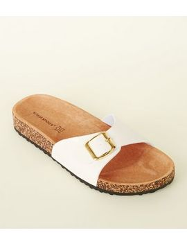 White Leather Lined Footbed Sandals by New Look