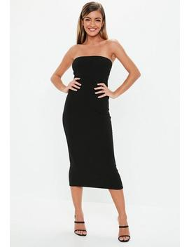Black Bandeau Midi Dress by Missguided