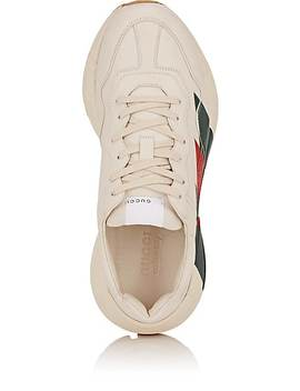 Men's Rhyton Web Print Leather Sneakers by Gucci