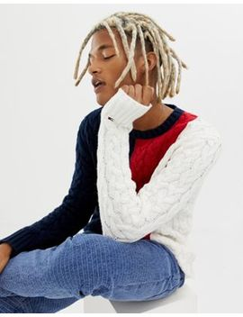 Tommy Jeans Icon Color Block Cable Knit Sweater In Navy Multi by Tommy Jeans