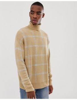 Bershka Knitted Roll Neck Sweater In Camel With Gray Check by Bershka
