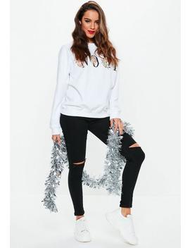 White Cherub Noel Graphic Sweatshirt by Missguided