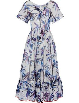 Printed Embroidered Organza Midi Dress by Emilio Pucci