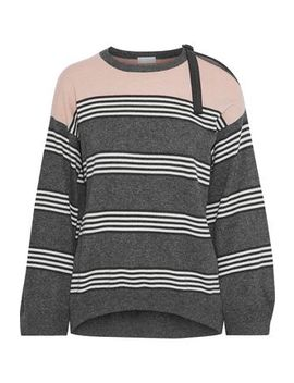 Bead Embellished Striped Cashmere Sweater by Brunello Cucinelli