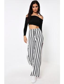 White Stripe O Ring Zip Flared Split Front Trousers by I Saw It First