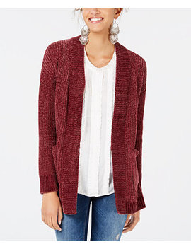 Juniors' Chenille Pocket Cardigan by Hippie Rose