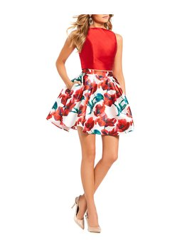 Solid Top With Floral Print Satin Two Piece Dress by Glamour By Terani Couture