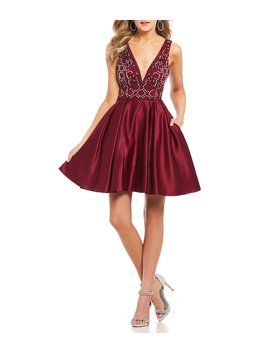 Beaded Bodice Satin Fit And Flare Dress by Blondie Nites