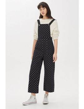 Spot Cropped Denim Jumpsuit by Topshop