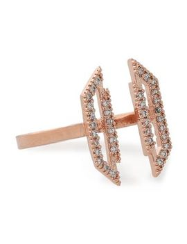 Fitzgerald Block Rose Gold Plated Crystal Ring by Astrid & Miyu