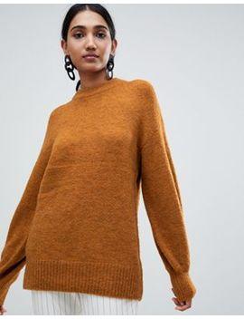 Джемпер цвета охры из материала премиум класса с добавлением шерсти   с пышными рукавами Warehouse by Asos