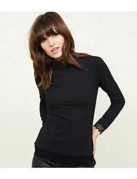 Jdy Black Lace Trim Top by New Look