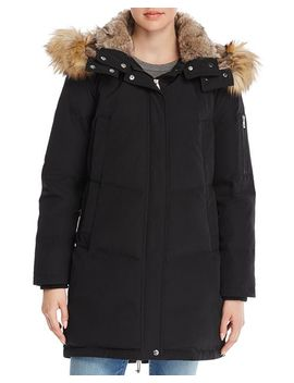 Faux Fur Trim Double Pocket Parka by Vince Camuto