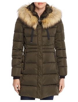 Stefani Faux Fur Trim Fitted Puffer Coat by T Tahari