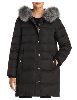 Faux Fur Trim A Line Puffer Coat by Kate Spade New York