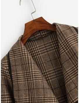 Plus Plaid Drape Front Coat by Sheinside