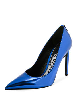 Mirror Calf Leather Point Toe Pump by Tom Ford