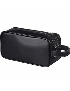Happy David Soft Pu Leather Zipped Travel Toiletry Bag Mens Ladies Supply Toiletry Bag Case(Black) by Happy David