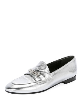 Metallic Loafers With Chain Detail by Tom Ford