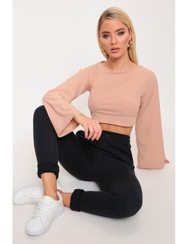 Stone Basic Long Sleeve Ribbed Crop Top by I Saw It First